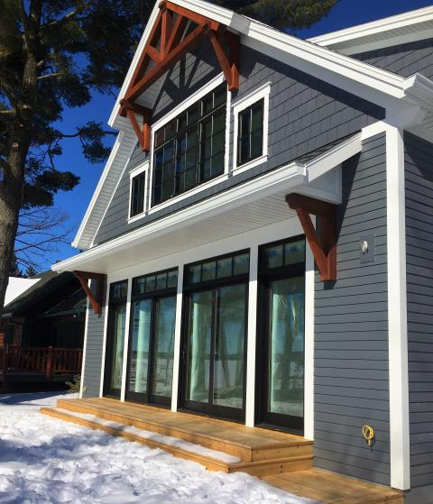 """Cushing, MN - Beautiful 6"""" K-style gutters from Advantage Seamless. Help keep your decks and walkways clear. Give us a call today to find out how we can protect your home"""