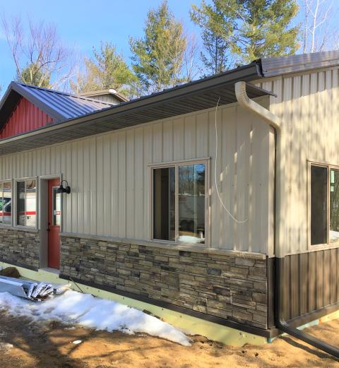 Breezy Point, MN - With these six inch seamless K-style gutters and color matched 3x4 downspouts, protect your home today. Even with a steel roof, never worry about about your gutter system from Advantage Seamless with our 25 year warranty.