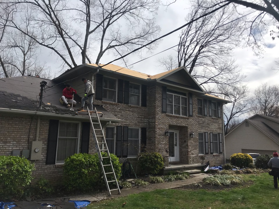 Knoxville, TN - Day one of gull roof replacement in Farragut.