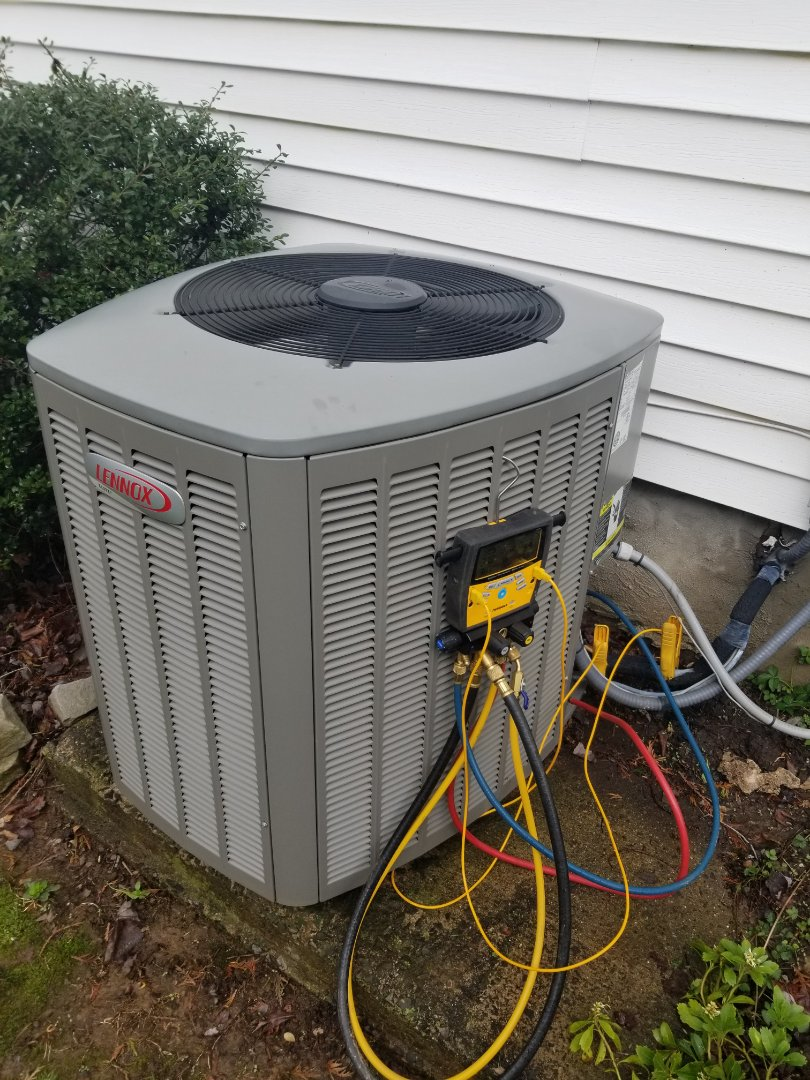 Southampton, PA - annual maintenance tune up service call in Southampton. performed annual maintenance / tune up on lennox heat pump system. check freon pressure. clean evaporator coil. clean condenser coil. clean condensation line. check heat pump operation.