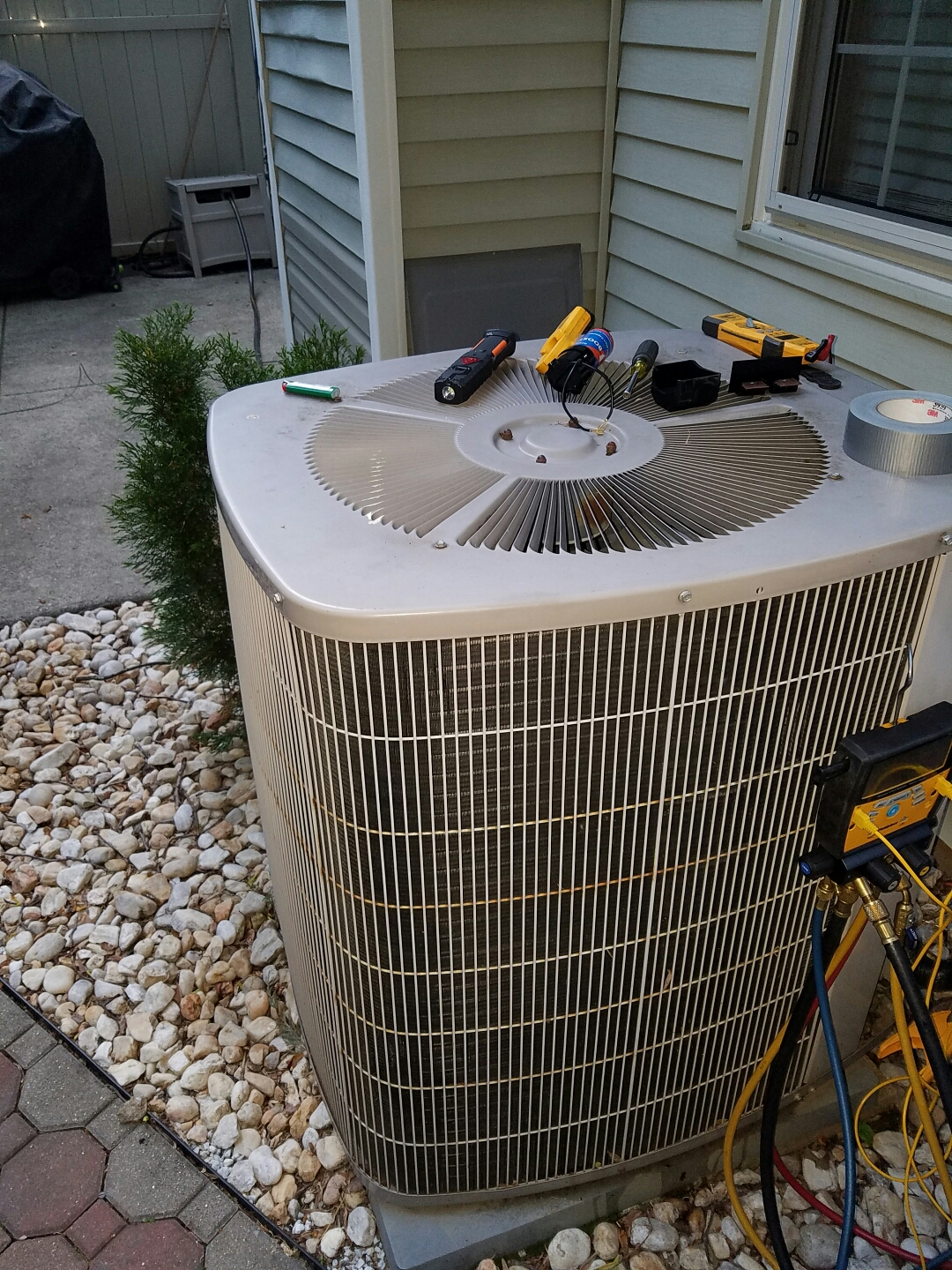 Feasterville Trevose, PA - Residential Air conditioning service call in Feasterville Trevose, Bucks County. Carrier ac unit blows warm air.  check air conditioner operation.  found bad compressor.  suggested to replace compressor and recharge unit with fresh refrigerant.