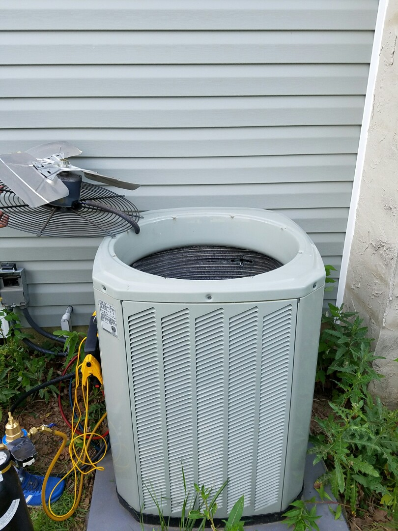 Horsham, PA - residential Air conditioning service call in Horsham.  Trane air conditioner is not cooling. check freon pressure - system is empty on freon.  check system for freon leaks.  find leak inside Trane condenser coil.  Suggested outdoor coil  replacement.