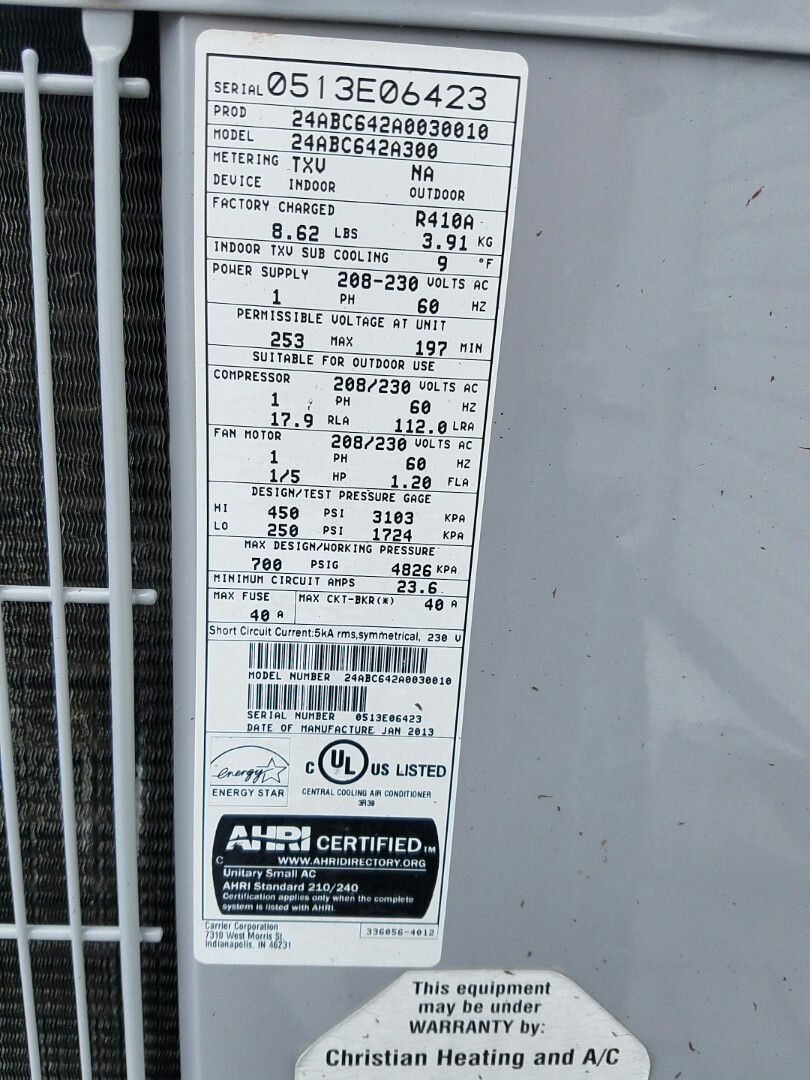 Southampton, PA - residential Air conditioning service call in Holland.  repair Carrier air conditioner.  condenser fan in not running.  check ac unit.  find problem with run capacitor.  replace capacitor.  check system performance and operation.