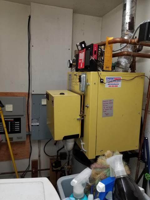Clinton Corners, NY - Installed antifreeze in System 2000 oil boiler to protect against frozen pipes in crawl space. Also performed tuneup and tested operation. Found wide pressure swings during burner operation due to defective expansion tank. Replace tank, and installed webstone isolation valve to allow for future testing without draining heating system.
