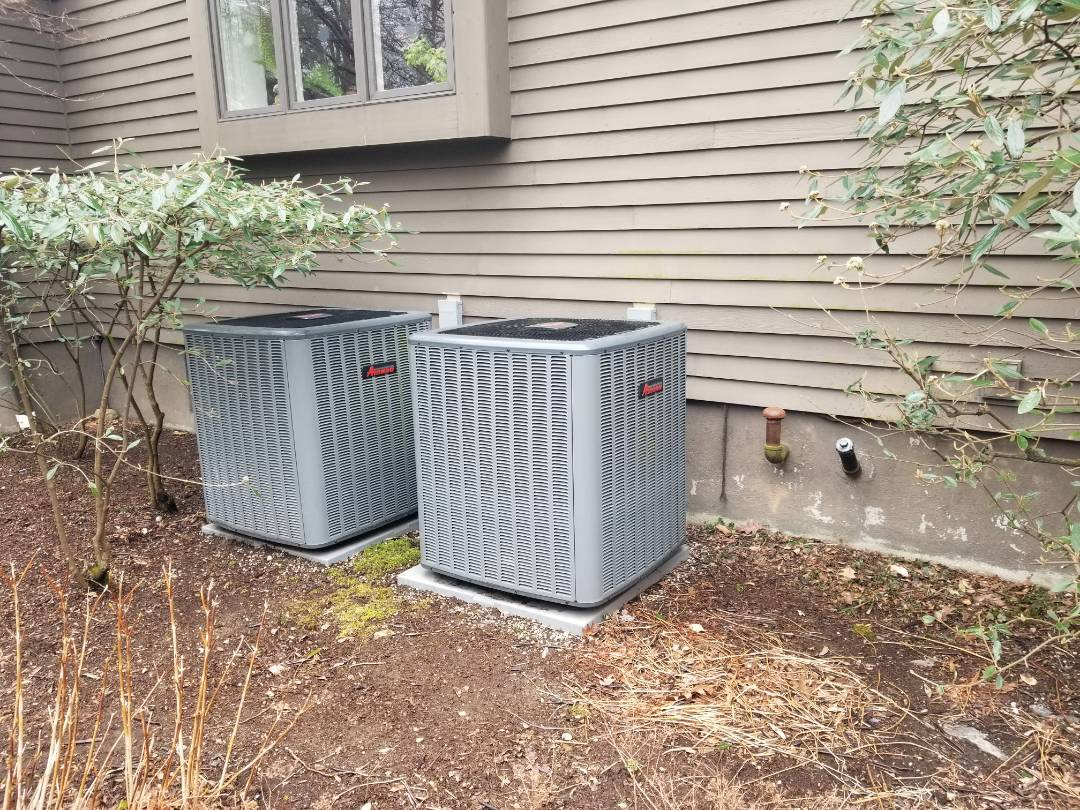 Philipstown, NY - Spring tune up of two Amana hydro air conditioners. Rinsed evaporator coils, drain pans, and condensate pump. Blocked air of condensers to simulate warm day, and check operation while still cool outside.