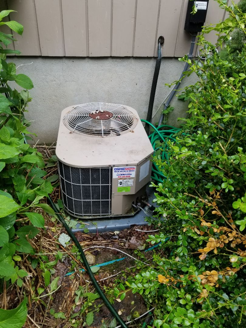 York air conditioning unit with First Company Air Handler, not cooling. Found system low on refrigerant, added freon and dye to system.