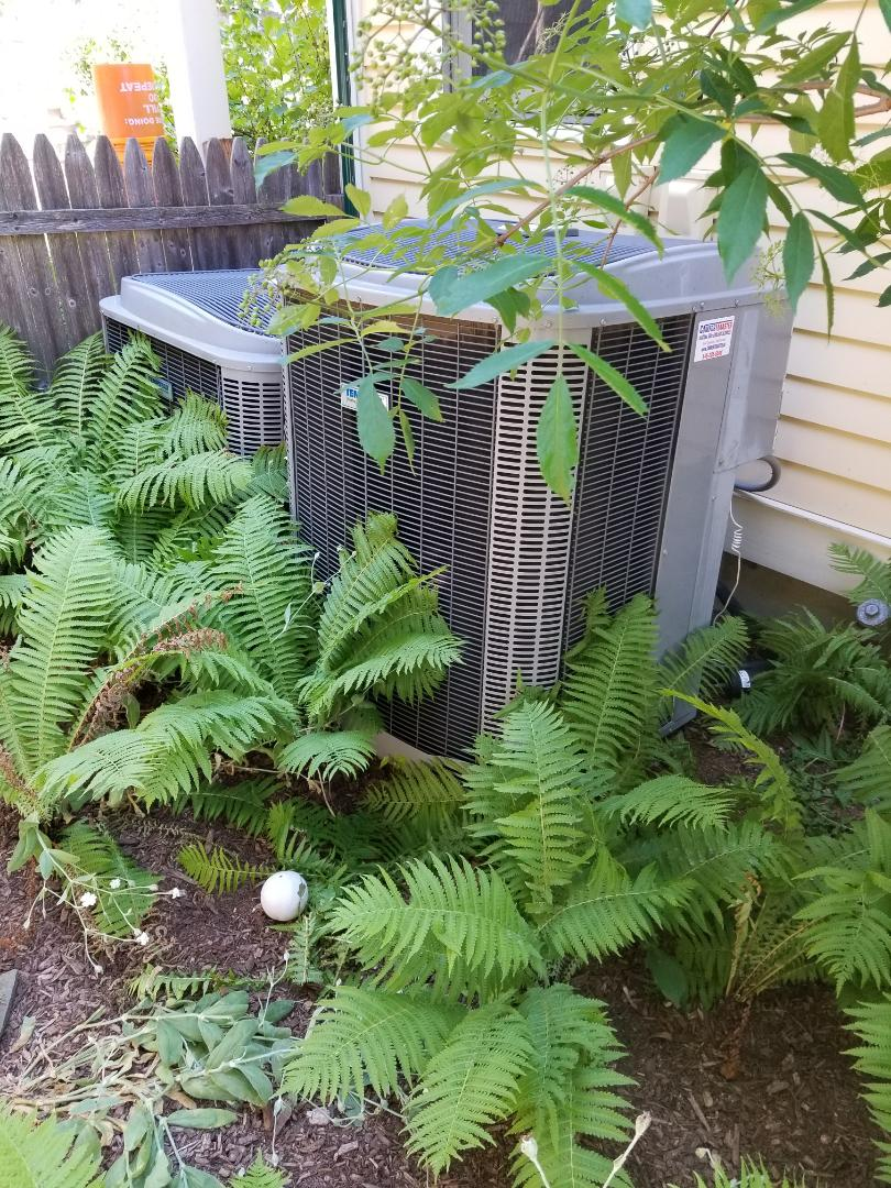 No AC 2nd Floor Heil / Tempstar with First Company Air Handler. Found defective capacitor in outdoor unit and replaced.