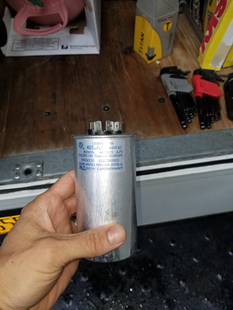 Mahopac, NY - Amana air conditioning unit not cooling. Found defective capacitor preventing compressor from starting. Replaced and checked operation.