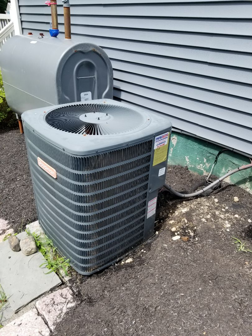 No AC Amana central air conditioner. Not blowing cold air. Found bad capacitor, and replaced. Also performed ac annual maintenance.