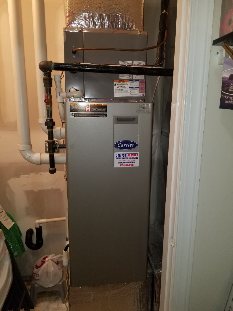 Carrier gas furnace with First company AC tune up and inspection. Checked operation and freon. Also inspected Bradford White Electric Water Heater and had to replace the relief valve and recharge the expansion tank due to low pressure in bladder.