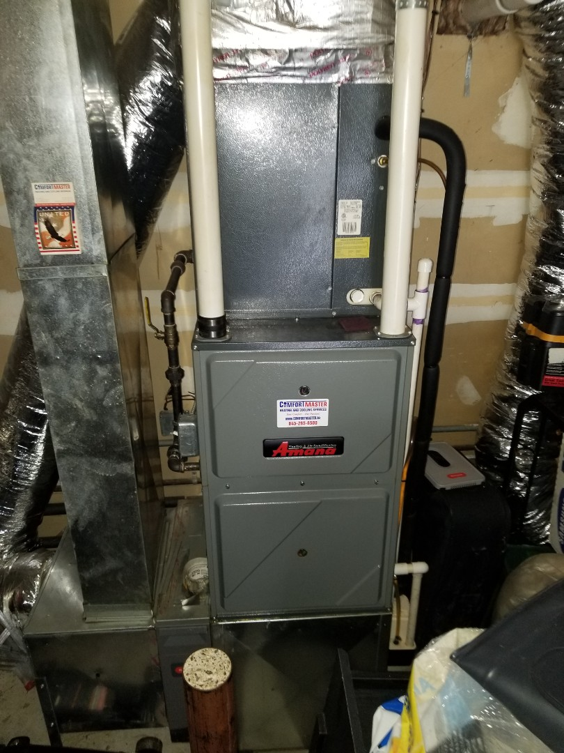 Arlington, NY - Amana Gas Furnace with Amana ac outdoor unit. Performed annual maintenance including gas water heater