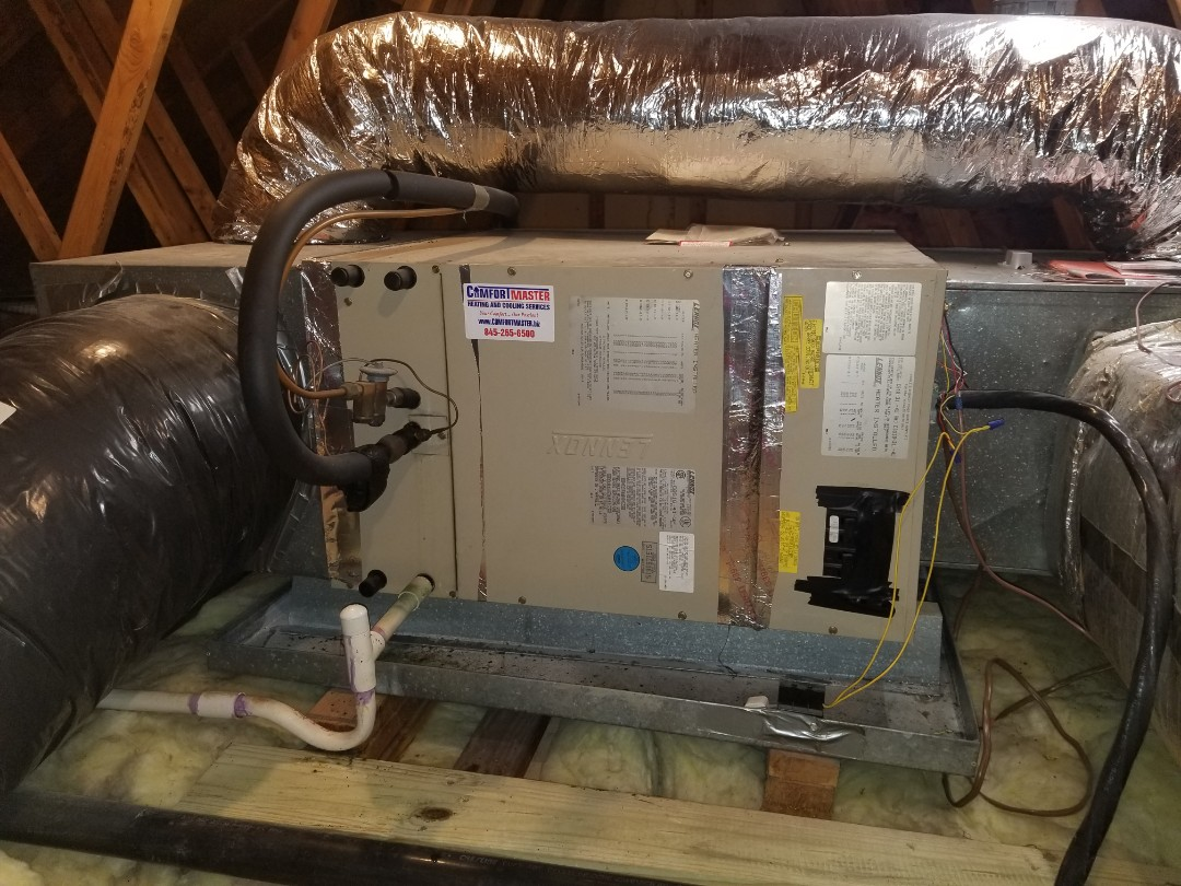 Carmel Hamlet, NY - Lennox Heatpump annual maintenance.  Found clogged drain and cleared as part of  tune up.