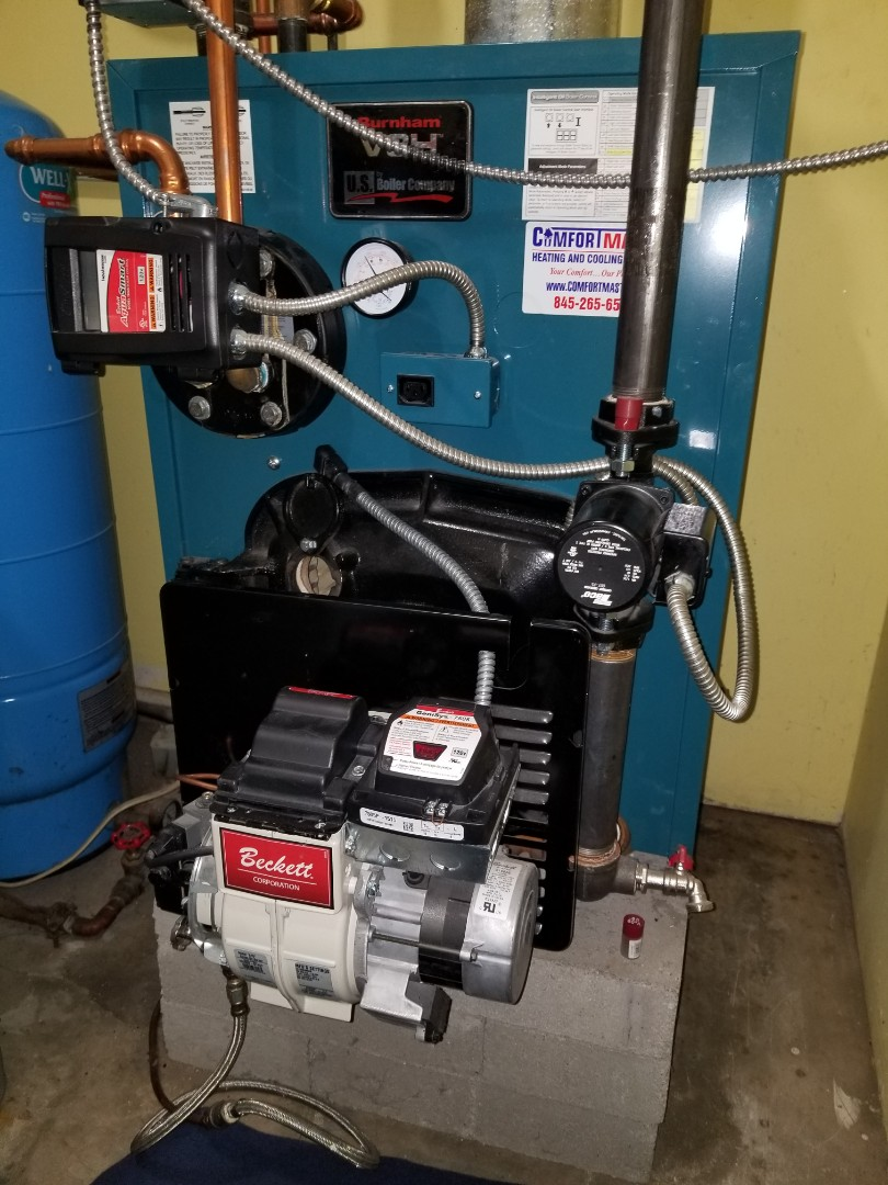 Modena, NY - Burnham Oil Boiler Tuneup. Boiler in great shape. Keep an eye on water stains around tankless heater