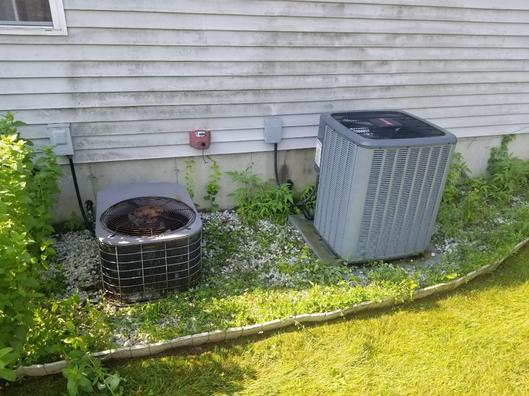 York and Amana Air Conditioning system maintenance. Flushed drains, replaced filters, cleaned coils, checked components and refrigerant levels