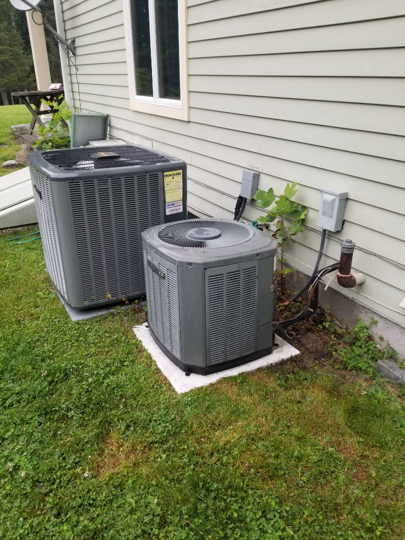 Putnam Valley, NY - Trane and Amana Air conditioning system maintenance.  Two of the three systems are low on r22 freon, but cooling at this time. Recommend planning to replace systems before next year to offset cost of adding freon and locating/repairing leaks.
