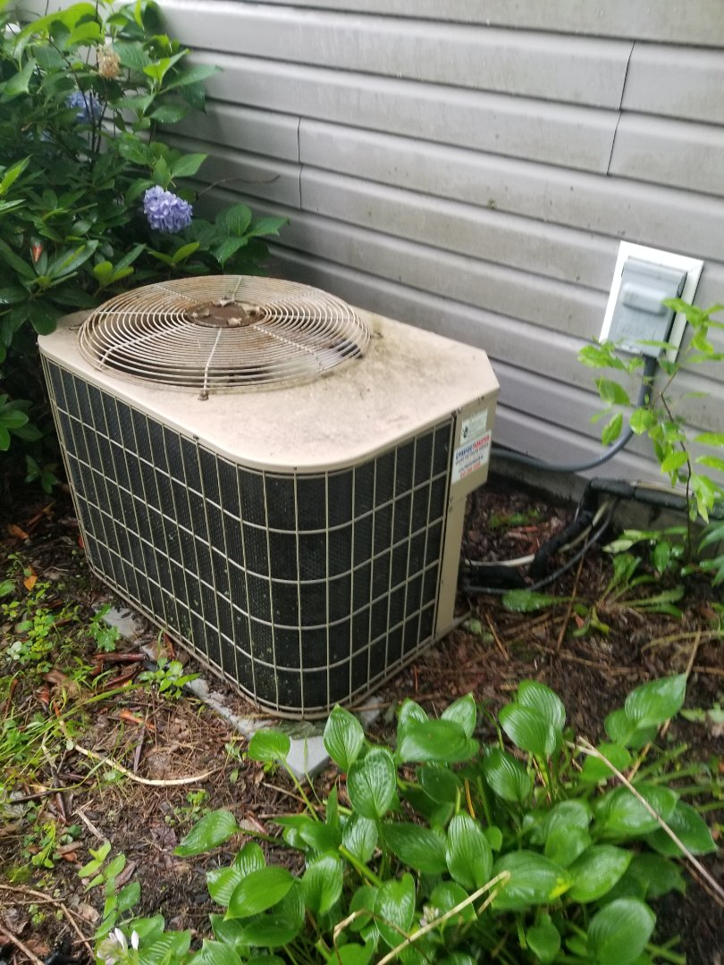 Old York Air Conditioning unit with r22 freon attached to Newer Hallmark Oil Furnace. Performed annual maintenance including oil water heater.