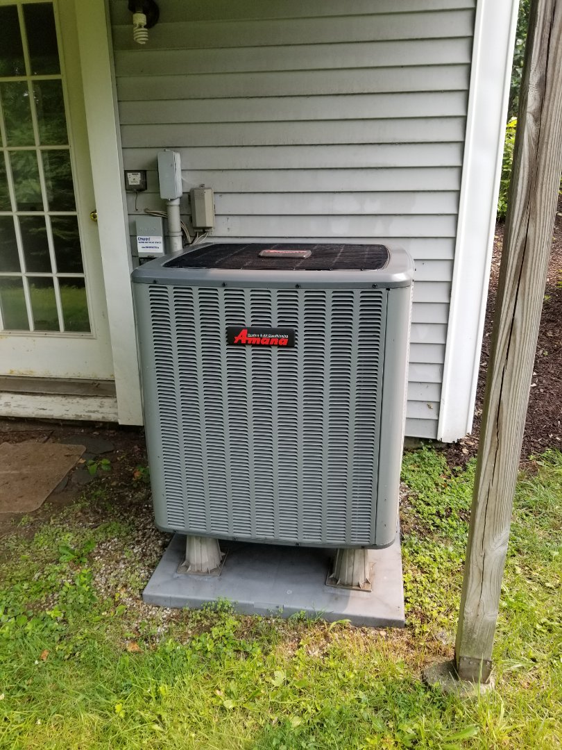 Annual tune up of Amana Heatpump and Bradford White Water heater. Replaced filter, cleaned coils, and test operation in heat and cooling