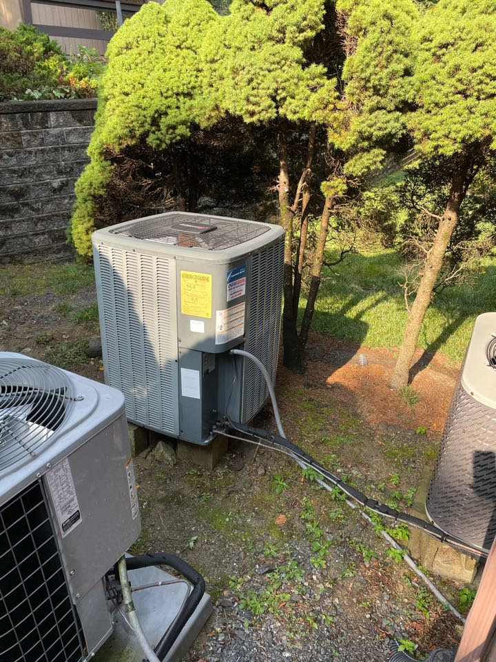 Amana Heatpump System. Performed annual maintenance and tune up. Found condenser coil extremely dirty and performed deep cleaning of coils.