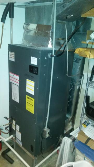 Mahopac, NY - Amana Heatpump not working properly. System low on freon. Performed leak search, repaired and recharged. Added sealant/dye solution for protection against future leaks. Also reconfigured setting and tested operation in all modes of operation.
