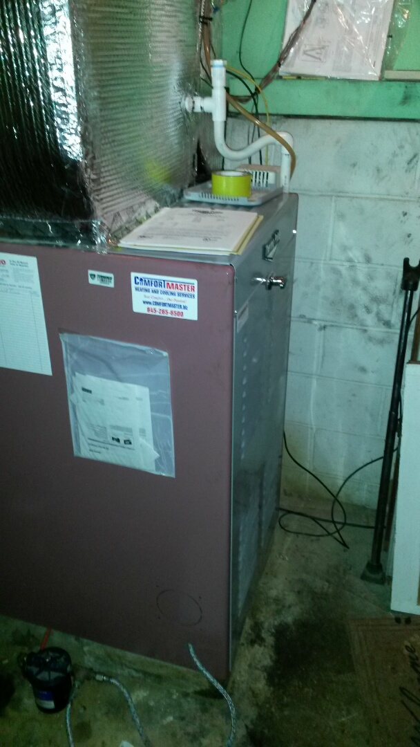 Poughkeepsie, NY - Thermo pride oil furnace out of oil. Replaced oil filter and strainer on hot air furnace and Bock Water Heater