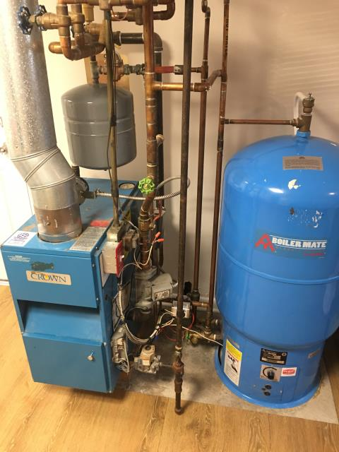 Wappingers Falls, NY - Crown Gas Boiler, and Amtrol water heater intermittently running out of hot water.  Replaced zone valve and thermostat. Started and tested operation.  Also found boiler producing very high carbon monoxide levels.  Performed cleaning and Tune-up to bring combustion back to factory specifications.