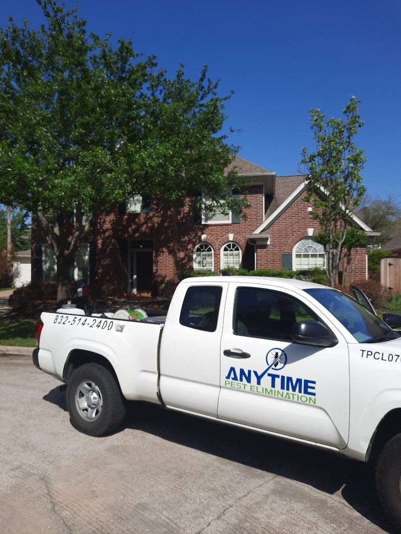 Sprayed exterior of home in Cypress TX for general pests (ants, spiders and cockroaches). Inspected interior for wood destroying insects. Thank you for your business and call us anytime if any issue arise.  Thank you, Christian with Anytime Pest