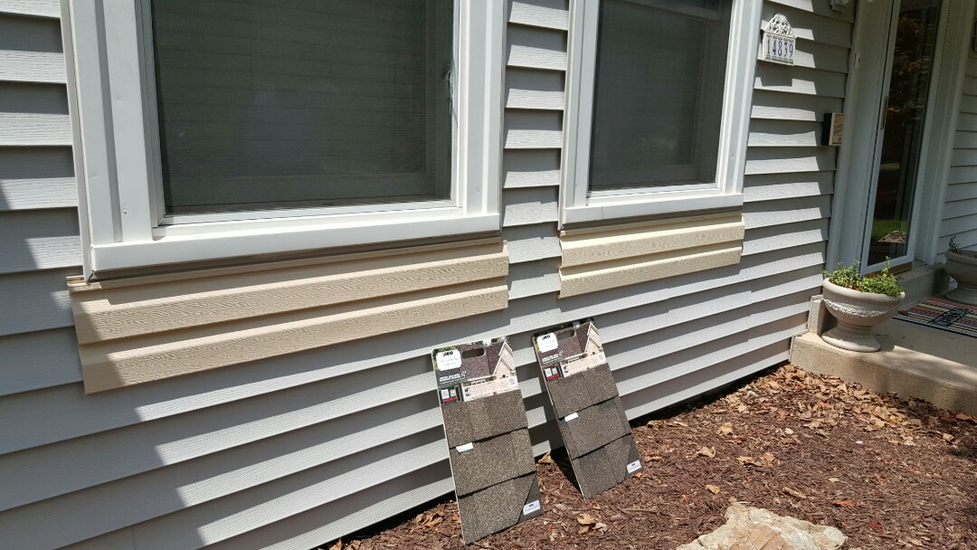 Chesterfield, MO - Samples delivered to our clients while performing  an exterior damage consultation