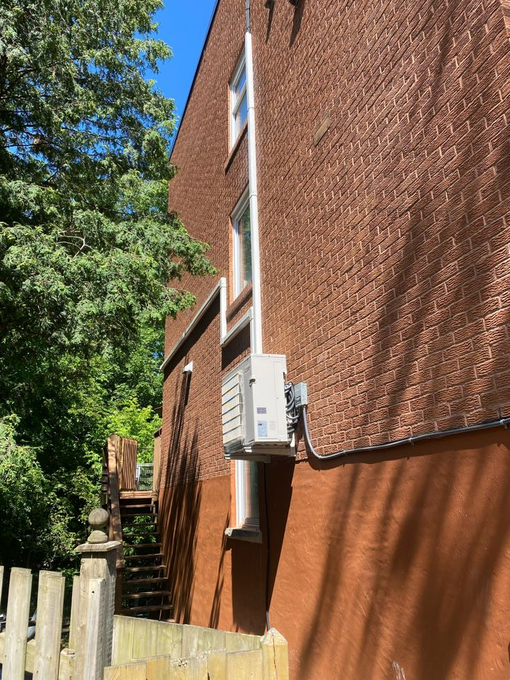 North York, ON - Install Mitsubishi ductless heat pump with 3 heads and line set covers in Toronto.