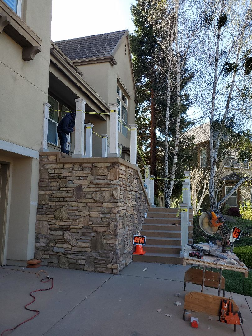 Alamo, CA - Finishing up the front entryway railing posts