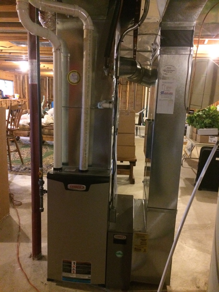 Granger, IN - Doing a job check for a new Lennox furnace. Nothing like happy customers.