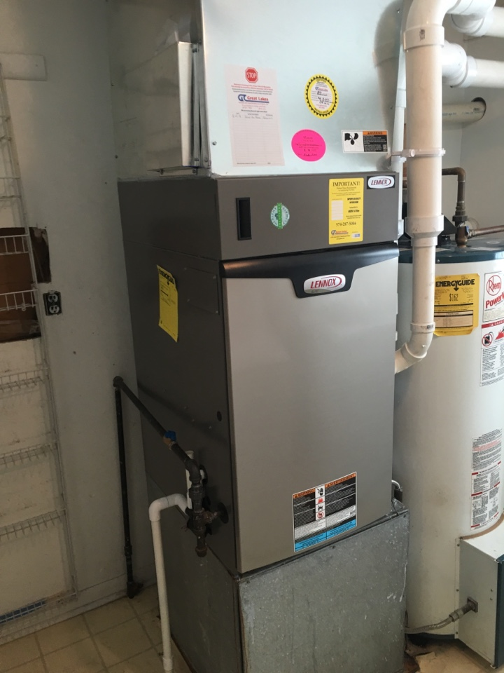 Grovertown, IN - Installing new Lennox 2-stage 96% high efficiency down flow furnace and media cabinet