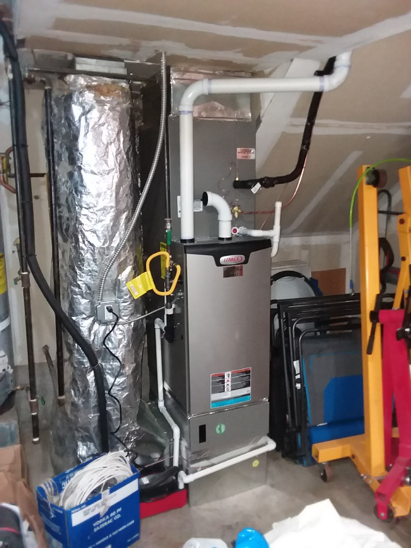 Lynnwood, WA - Just finished fire off on install of Lennox 96% furnace with AC also installed earthquake valve on gas meter customer happy to have more efficient Heating with cooling for summer