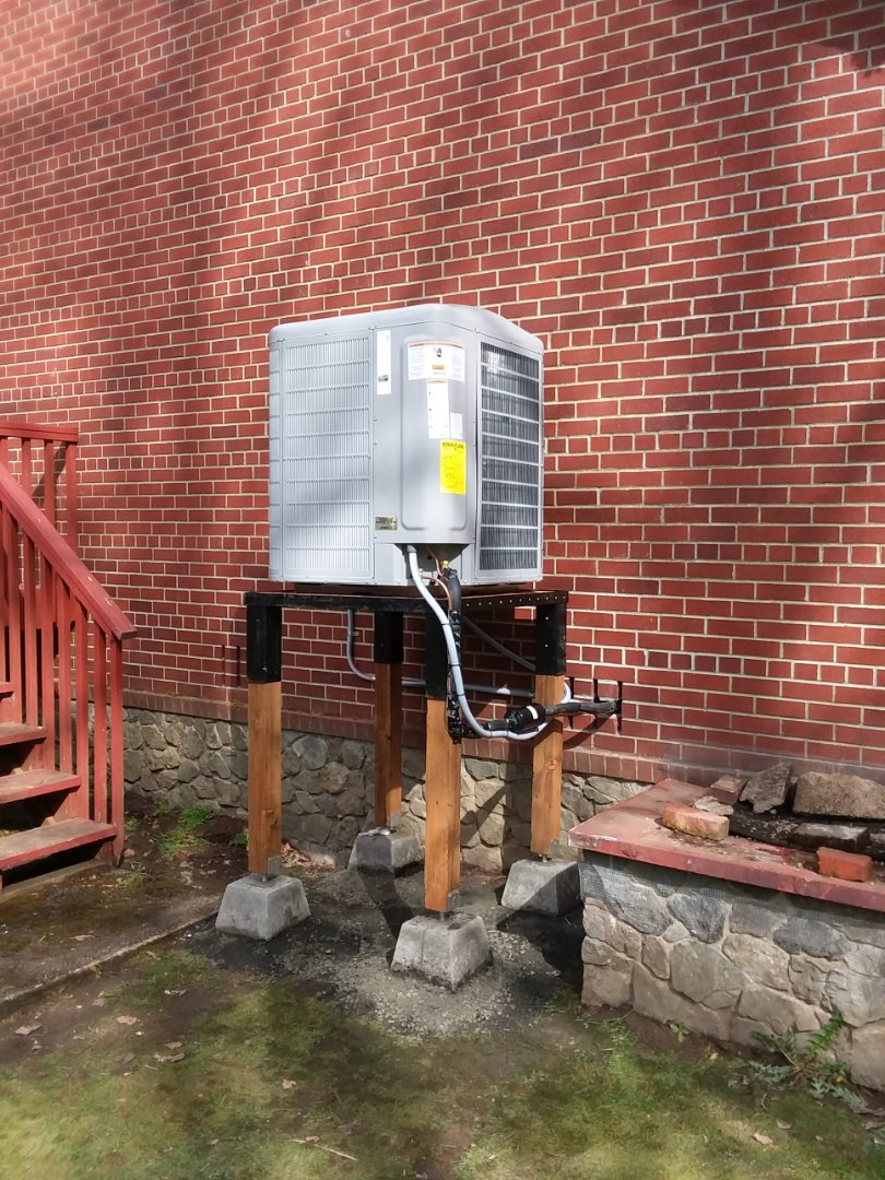 Lake Stevens, WA - Finished installing heat pump outdoor unit on floodplain stand in Granite Falls on my way home now