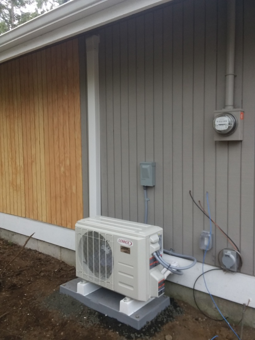 Arlington, WA - Just finished installing a single head Lennox mini-split ductless heat pump system