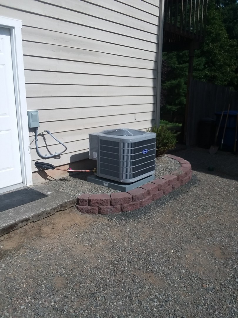 Woodinville, WA - Just arrived in Woodinville second day on 2-day job installing new carrier two-stage variable speed 95% efficient gas furnace with 3-ton AC unit also adding return air upstairs