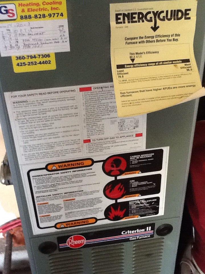 Monroe, WA - Service,repair on Rheem gas furnace in Monroe. Replaced HSI