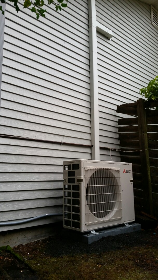 Edmonds, WA - Ductless install. Put in a two head ductless heat pump