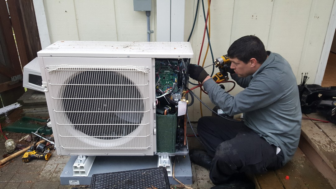 Everett, WA - Electrical. Electrician installed disconnect for a Lennox ductless heat pump.