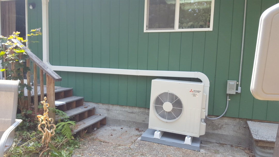 Everett, WA - Just finished installing a Mitsubishi mini-split ductless heat pump system for customer and Everett today happy to have more efficient heating and cooling for their home