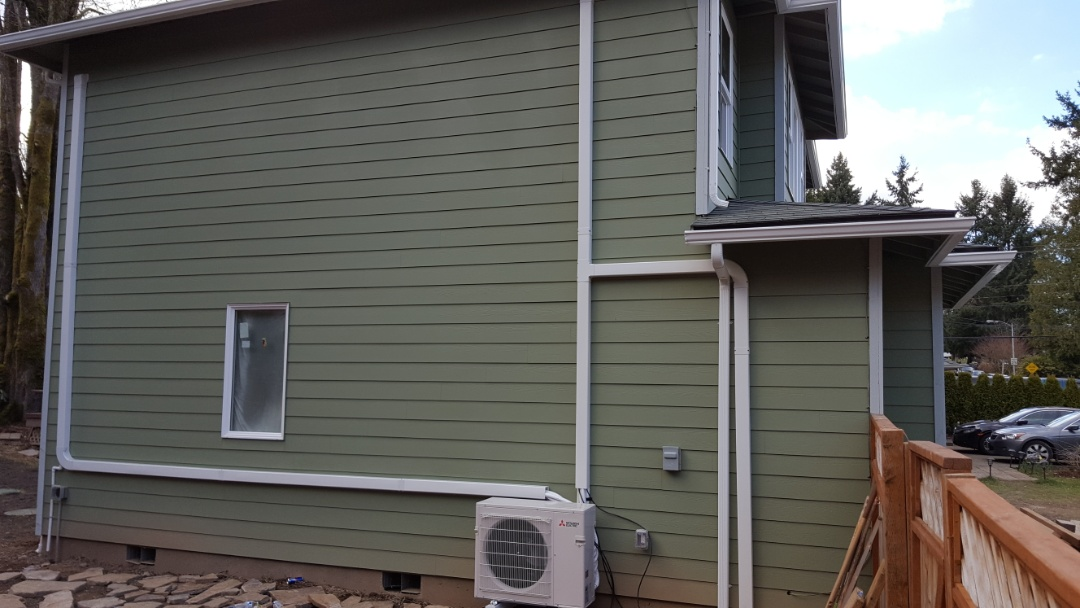 Bothell, WA - Just finished first day on job installing Mitsubishi four indoor head ductless heat pump system. Come back tomorrow for a wiring and final fire off