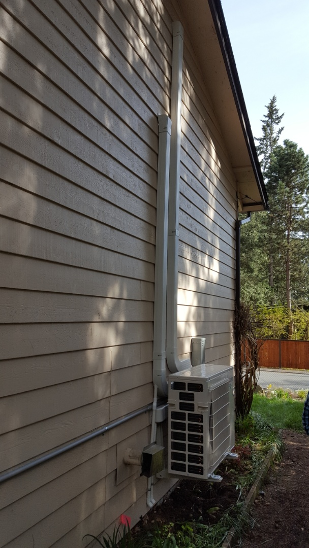 Bothell, WA - Just finished installing a three head Mitsubishi ductless heat pump system for customers in Bothell today happy to have more efficient Heating and Cooling installed in their home