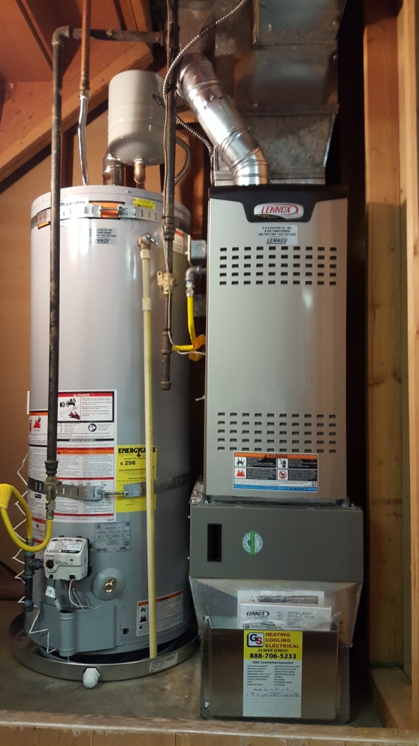 Mountlake Terrace, WA -  just finished changing out a 80% gas furnace and 50 gallon water heater replaced with Lennox furnace and state water heater in Mountlake Terrace today