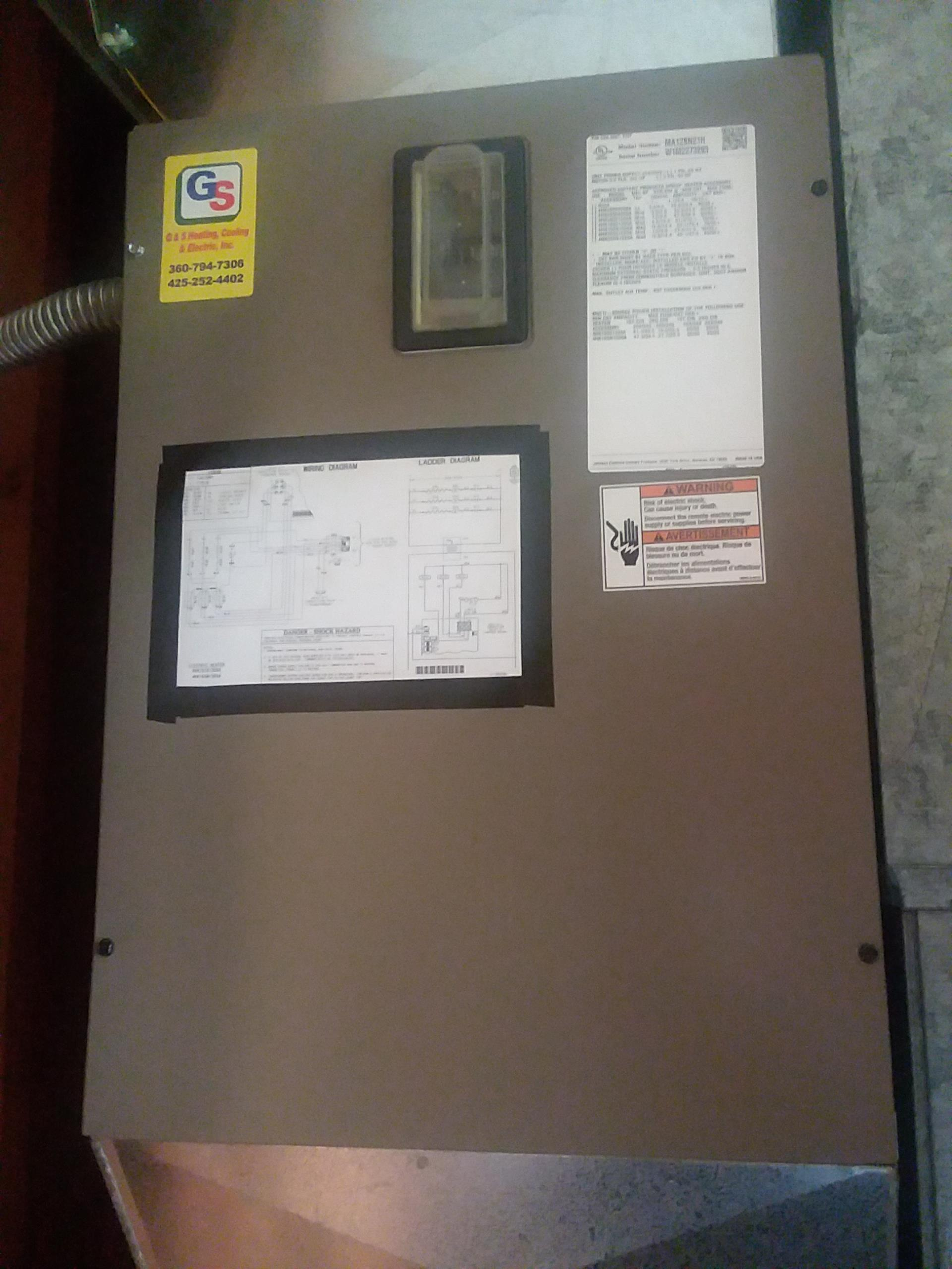 Monroe, WA - Completed planned maintenance on a York electric furnace in Monroe.