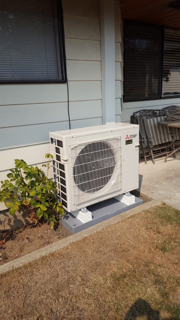 Marysville, WA - Just finished installing a double head Mitsubishi ductless heat pump system for customer in Marysville today happy to have more efficient Heating and Cooling