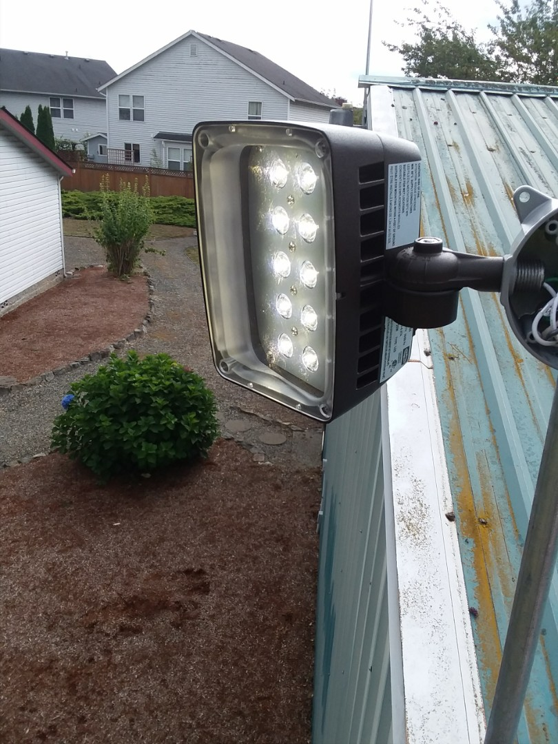 Snohomish, WA - Replacing a led flood light as well as adding a built in photo cell eye for lighting from dusk till dawn