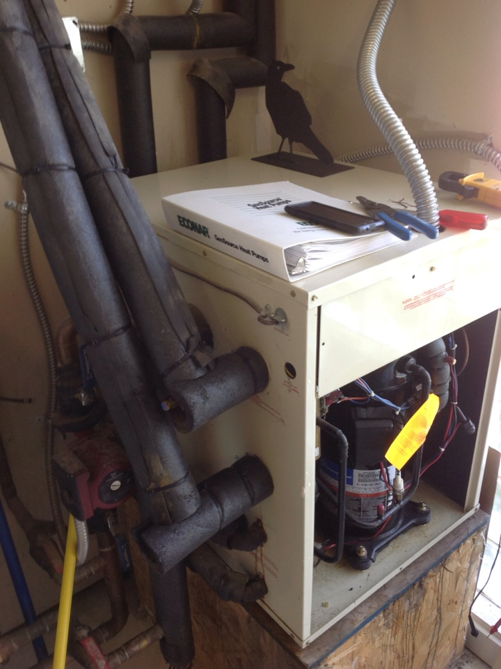 Monroe, WA - Performed routine maintenance on an Econar geothermal heat pump set up for radiant in floor heating.