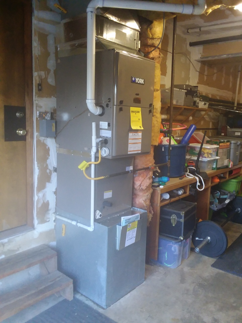 Bothell, WA - Just finished first day on two-day job installing new 90% York 2-stage Furnace and AC forecast Somers in Bothell today