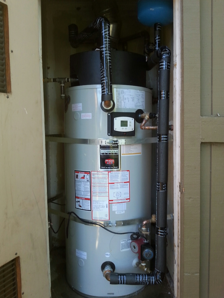 Orangevale, CA -  plumbing Folsom. Folsom plumbing. Install new 100 gallon natural gas power direct vent commercial water heater