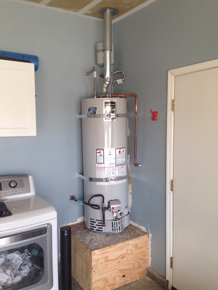 Lincoln, CA - Plumbing repair. 40 gallon water heater replacement with stand repair. Lincoln