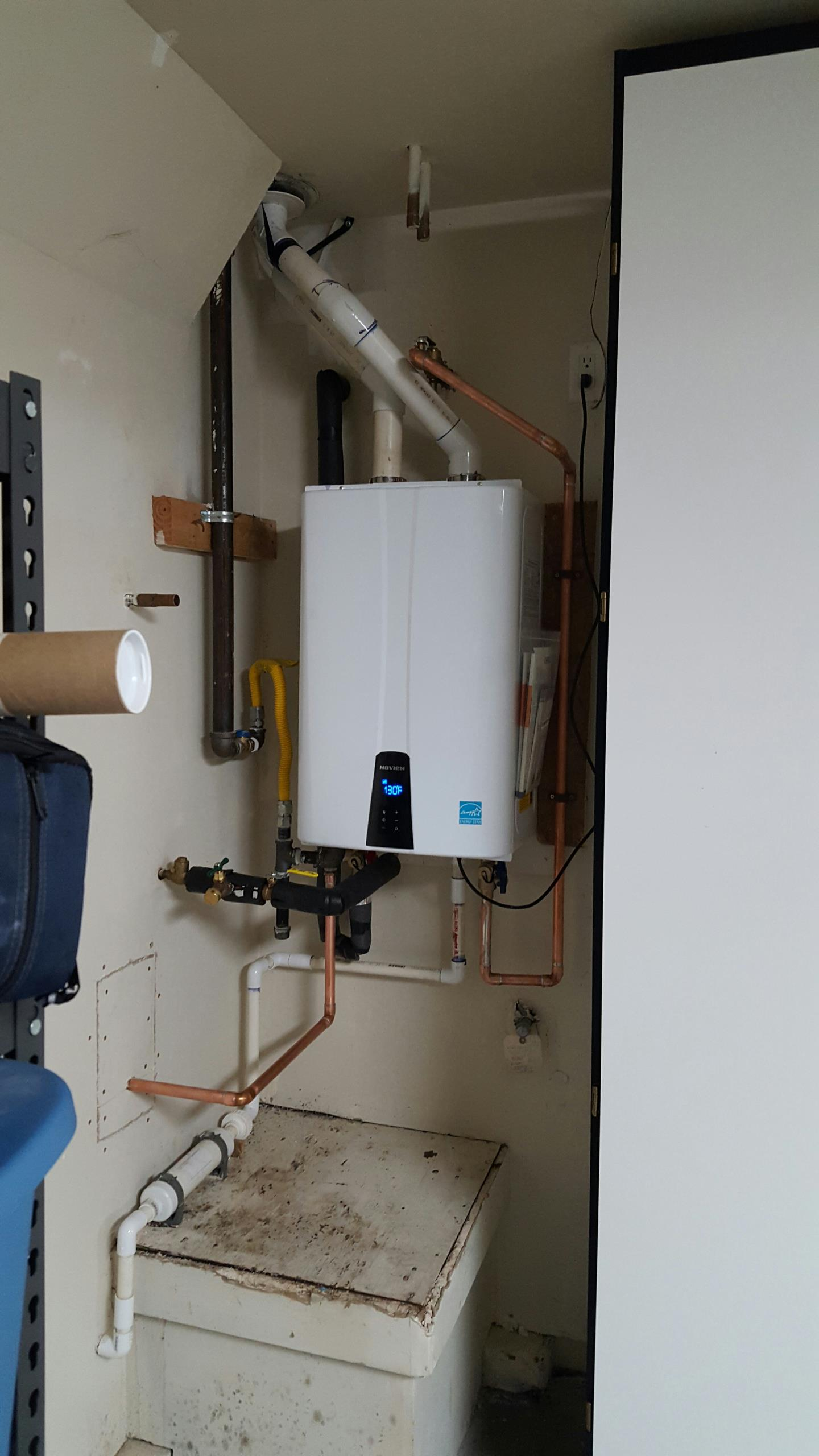 Heating AC plumbing Gold River California Installation of Navien tankless water heater with recert